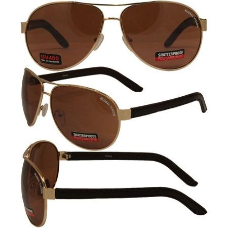 GLOBAL VISION EYEWEAR Sunglasses AVIATOR-1 DRM DRIVING MIRROR LENSES-GOLD FRAME