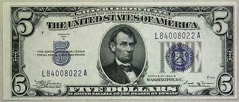 UNITED STATES Paper Money - World $5 SILVER CERTIFICATE