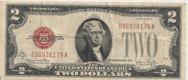UNITED STATES Paper Money - World 1928C RED SEAL 2$