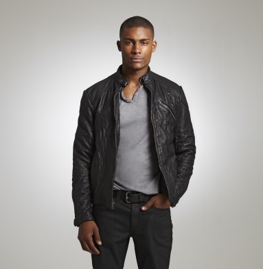 KENNETH COLE NEW YORK Clothing LEATHER MOTO JACKET BLACK #RS76139LE