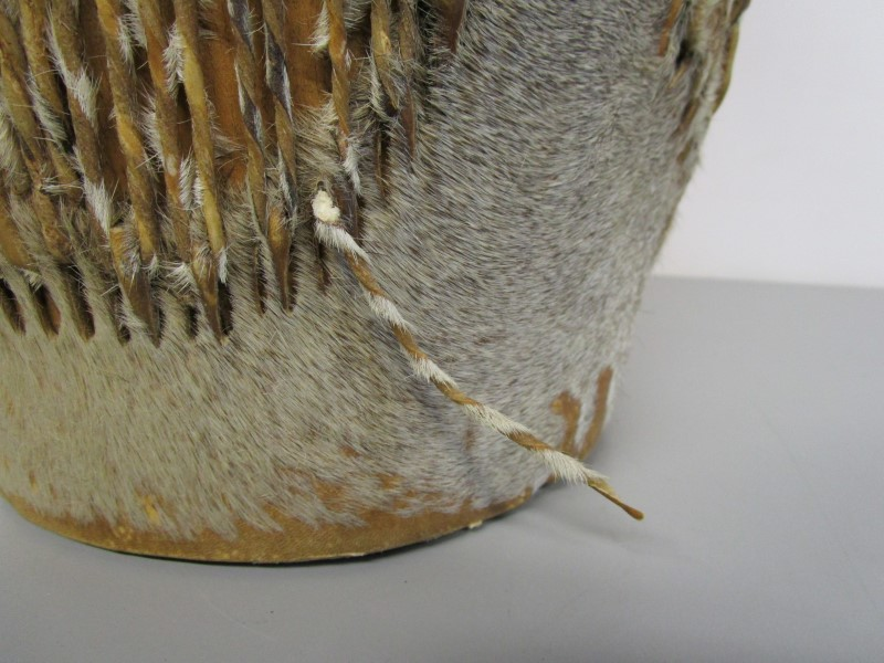 AUTHENTIC AFRICAN STOOL DRUM, ANIMAL HIDE AND SINEW OVER HARD WOOD