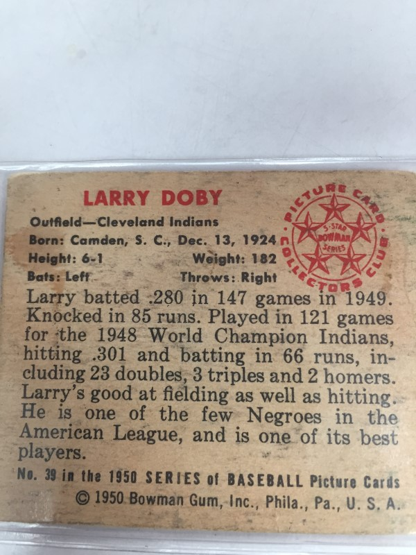 BOWMAN SPORTS 1950 LARRY DOBY BASEBALL CARD