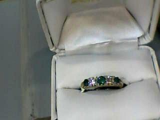 Emerald Lady's Stone & Diamond Ring 2 Diamonds .22 Carat T.W. 14K Yellow Gold