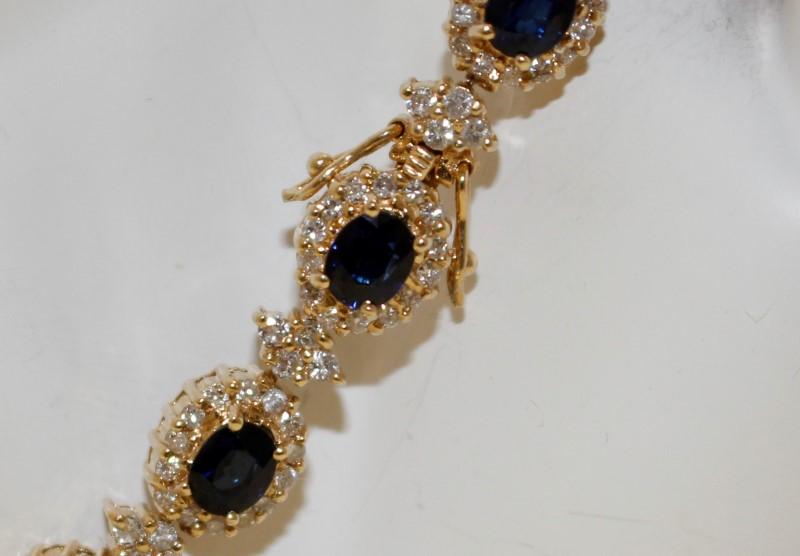 Sapphire Gold-Diamond & Stone Bracelet 252 Diamonds 3.08 Carat T.W.