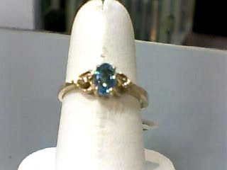 Synthetic Blue Topaz Lady's Stone Ring 10K Yellow Gold 1dwt Size:6.5