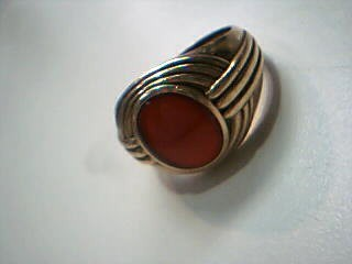 Synthetic Carnelian Gent's Stone Ring 14K Yellow Gold 8.9g