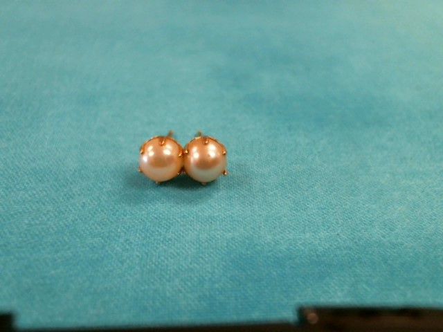 Synthetic Pearl Gold-Stone Earrings 10K Yellow Gold 1dwt
