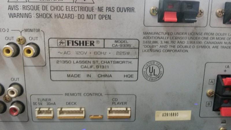 FISHER AUDIO Receiver CA-9335