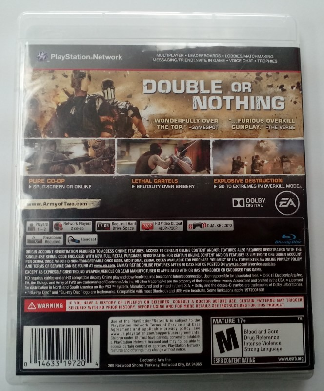 SONY PLAYSTATION 3 GAME PS3 ARMY OF TWO THE DEVILS CARTEL