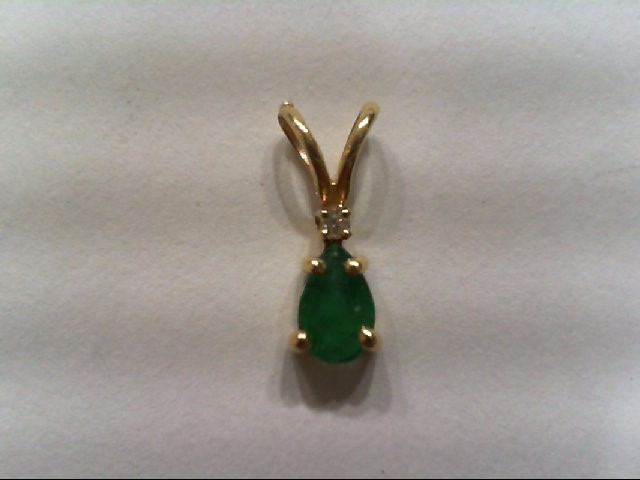 Emerald Gold-Stone Pendant 14K Yellow Gold 0.3g
