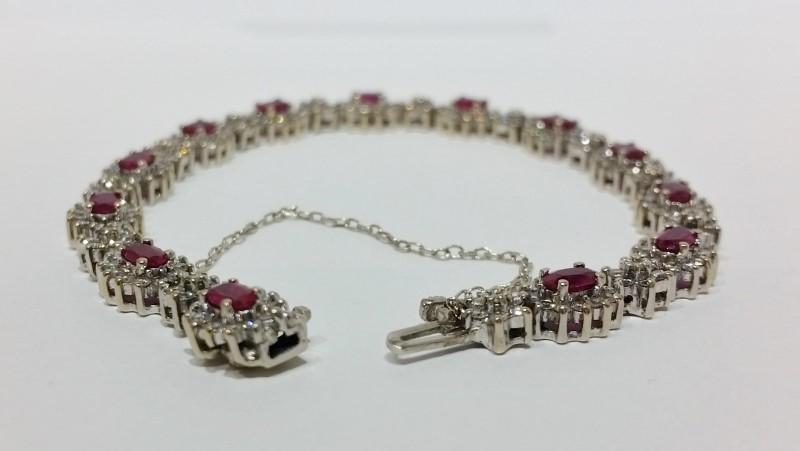 Effy Brasilica 18K White Gold Natural Ruby & Diamond BH Tennis Bracelet w Safety
