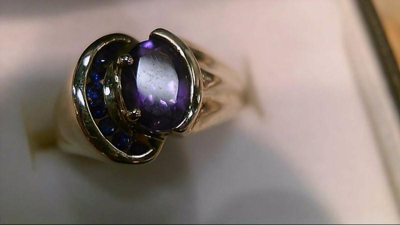 Purple Stone Lady's Stone Ring 10K Yellow Gold 5.2g Size:6