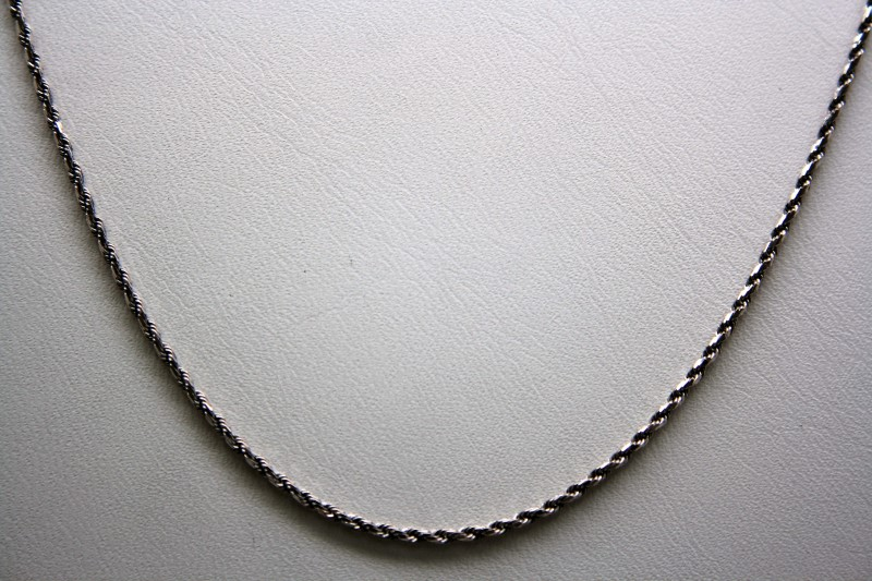 """15"""" ROPE STYLE CHAIN 18K WHITE GOLD  3.5g"""