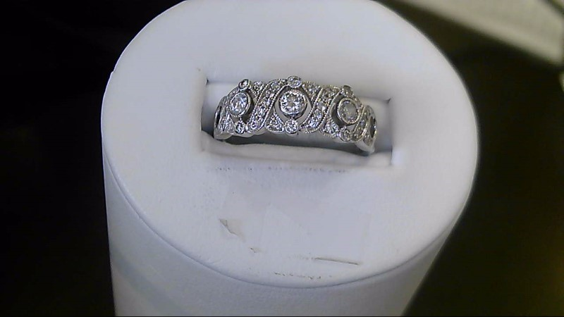 Lady's Diamond Fashion Ring 3 Diamonds .12 Carat T.W. 14K White Gold 4.6g