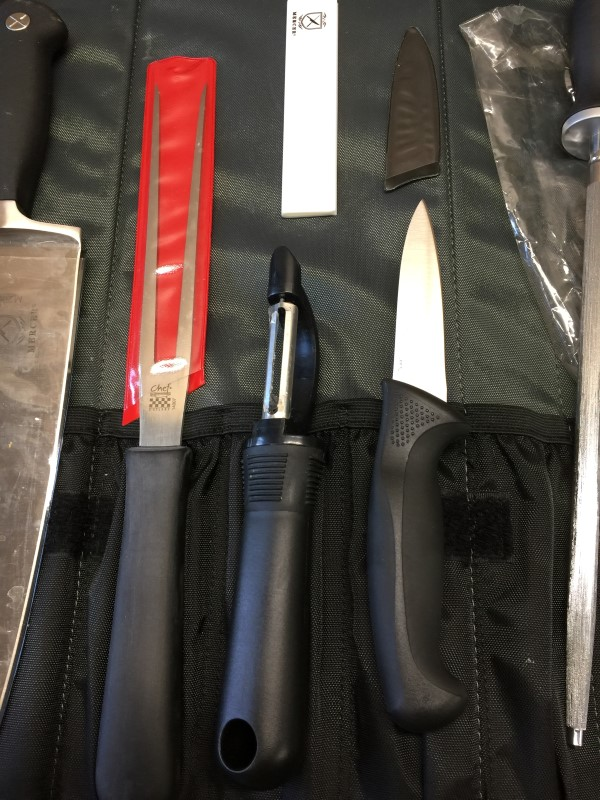 MERCER CUTLERY SET 3 KNIVES, SHARPENER, PEELER, FORK & CASE
