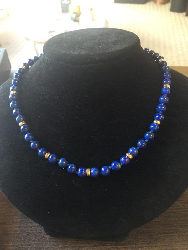 "20"" Lapis Stone Necklace 14K Yellow Gold 42.1g"