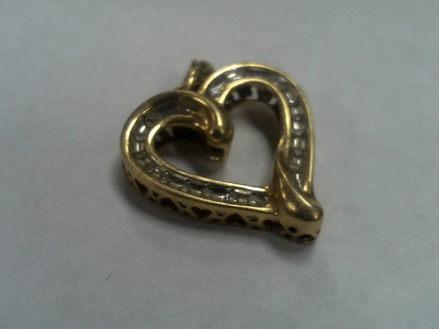Gold-Multi-Diamond Pendant 18 Diamonds .18 Carat T.W. 10K Yellow Gold 2.6g