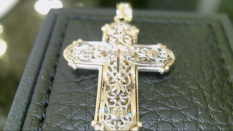14k yellow and white filigree cross pendant