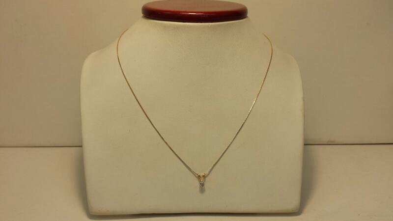 """14k Yellow Gold Box Necklace with 1 Daimond Pendant - .1ctw - .8dwt - Lenght 20"""""""