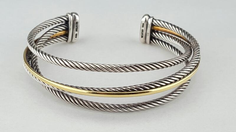 David Yurman 3 Cable Wire Sterling & 18k Crossover Cuff