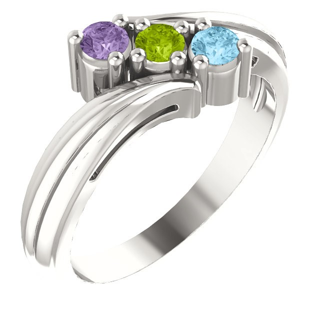 Mother's Day 3 Stone Silver Ring 925 Silver Mom