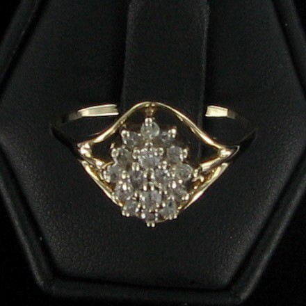 Lady's Diamond Cluster Ring 16 Diamonds .56 Carat T.W. 14K Yellow Gold 2.1dwt