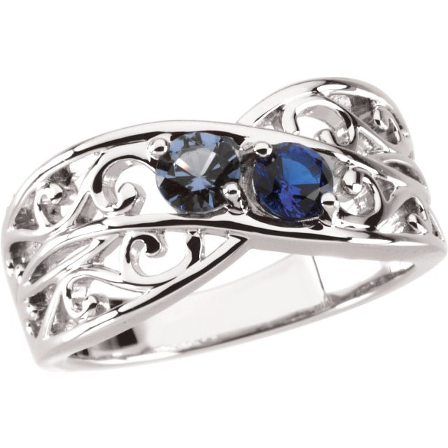 Mother's Day 2 Stone Silver Ring 925 Mom