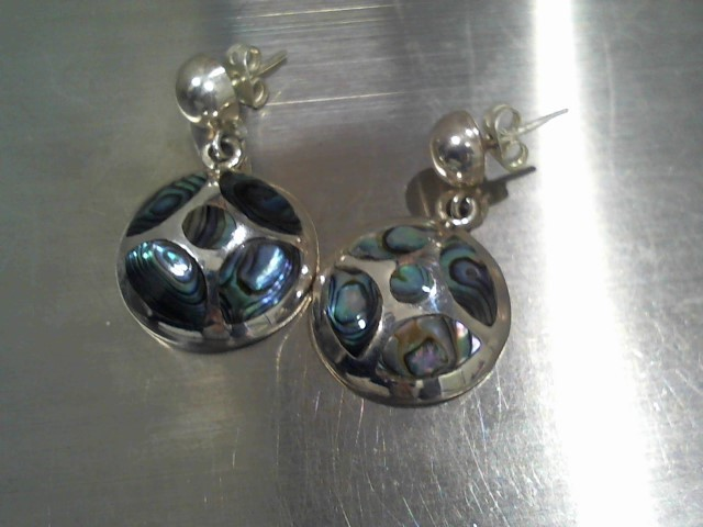 Synthetic Mother Of Pearl Silver-Stone Earrings 925 Silver 13.4g