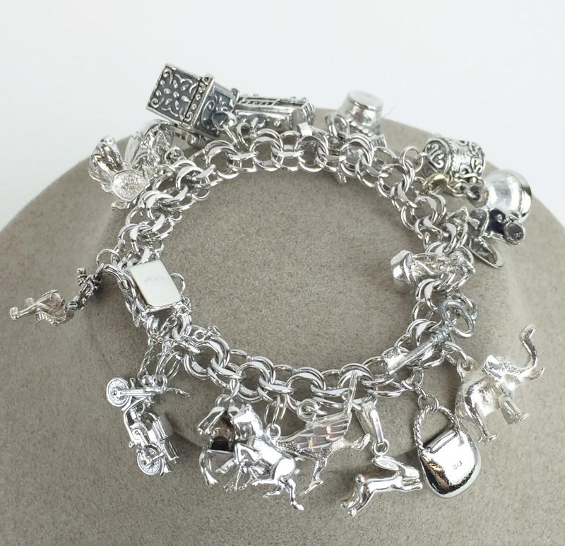 Sterling Silver Multi Charm Bracelet 93.5g .925