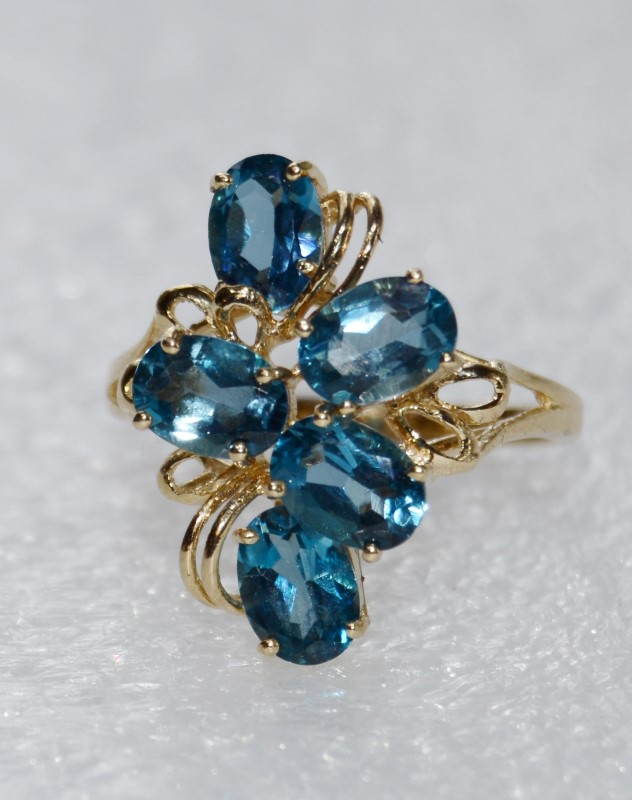 10K Yellow Gold Cathedral Set Funky Blue Topaz Swirl Cocktail Statement Ring s 9