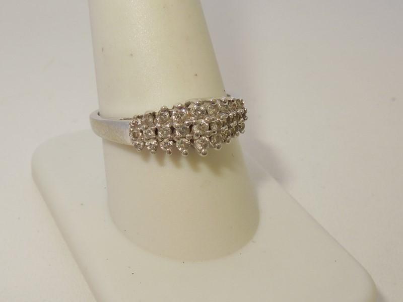 Lady's Diamond Cluster Ring 27 Diamonds .69 Carat T.W. 10K White Gold 3.8g