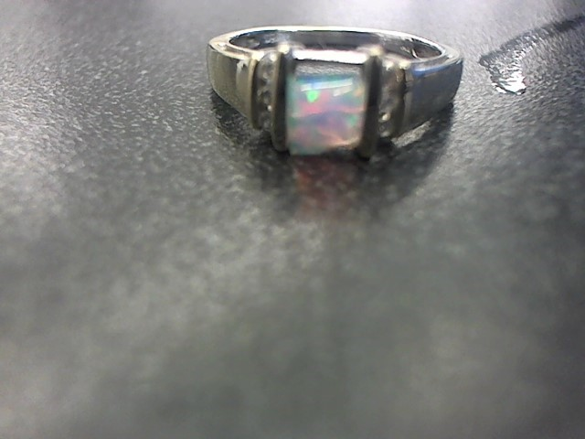 Synthetic Opal Lady's Stone & Diamond Ring 6 Diamonds .06 Carat T.W.
