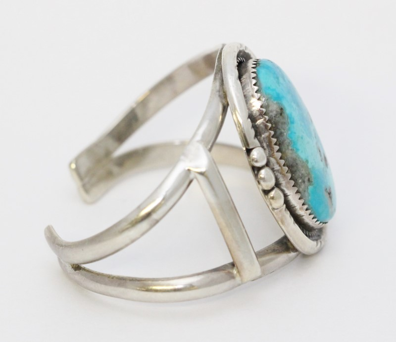Sterling Silver Turquoise Native American Southwestern Style Cuff Bracelet MLS