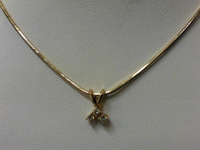 Diamond Necklace 3 Diamonds .15 Carat T.W. 14K Yellow Gold 6.9g