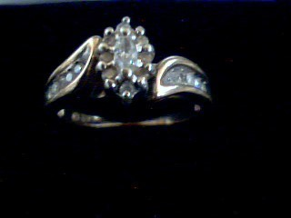 Lady's Diamond Cluster Ring 18 Diamonds .22 Carat T.W. 10K Yellow Gold 3.4g