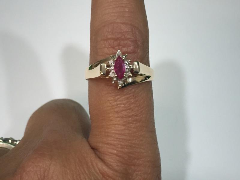 Ruby Lady's Stone & Diamond Ring 6 Diamonds .030 Carat T.W. Size 7 3/4