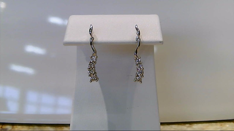 Gold-Diamond Earrings 8 Diamonds .08 Carat T.W. 14K White Gold 1.8g