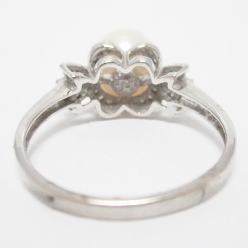 10K White Gold Pearl & Diamond Cathedral Set Ring Size 7
