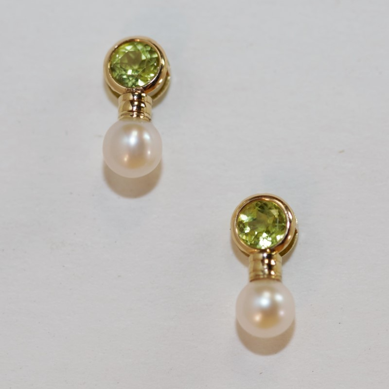 Peridot and Pearl 14K Yellow Gold Earrings