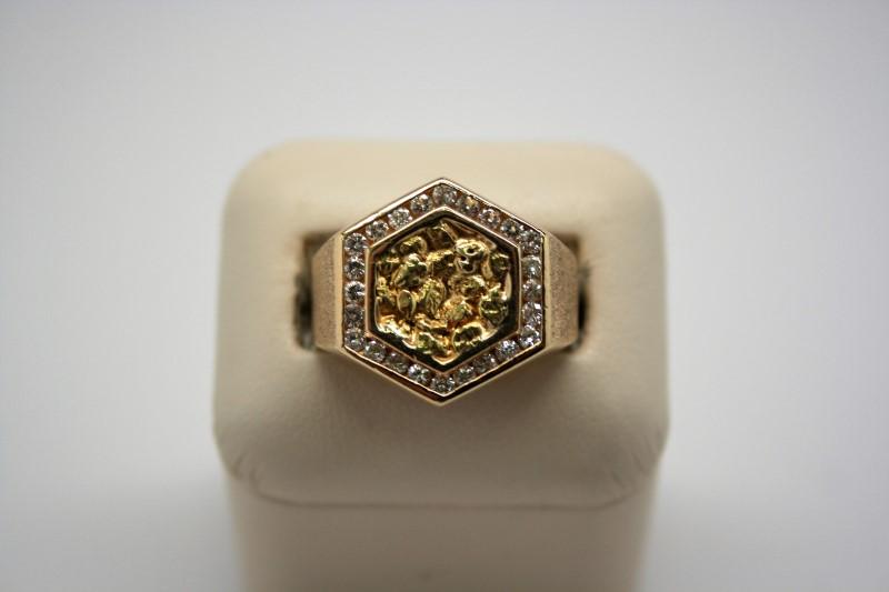 GENT'S DIAMOND NUGGET STYLE RING 14K/18K YELLOW GOLD