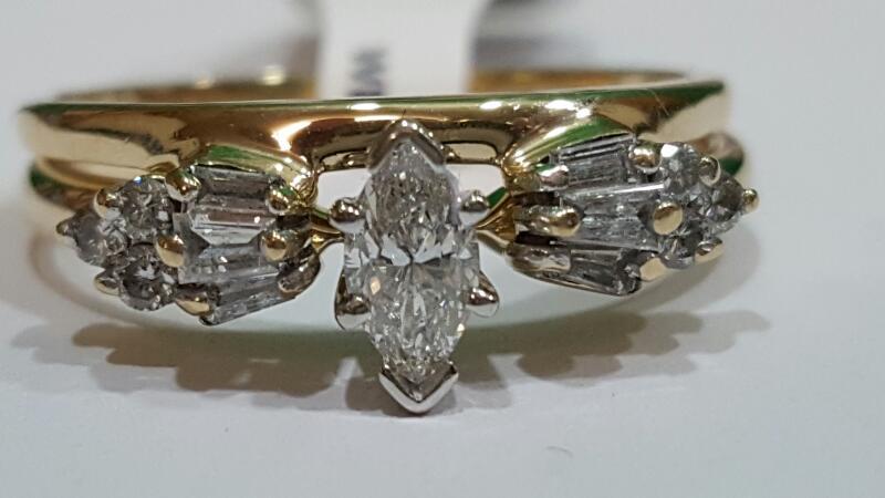 Lady's Diamond Wedding Set 13 Diamonds .60 Carat T.W. 14K Yellow Gold 5.4g