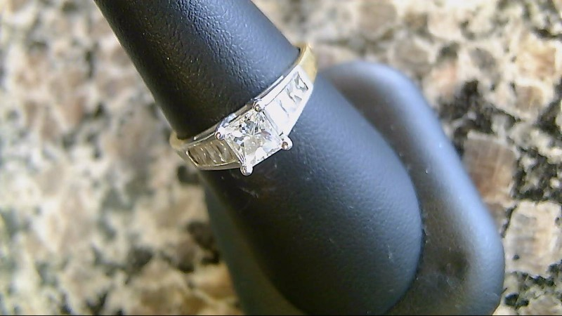 Lady's Diamond Engagement Ring 9 Diamonds 1.11 Carat T.W. 18K Yellow Gold 4g