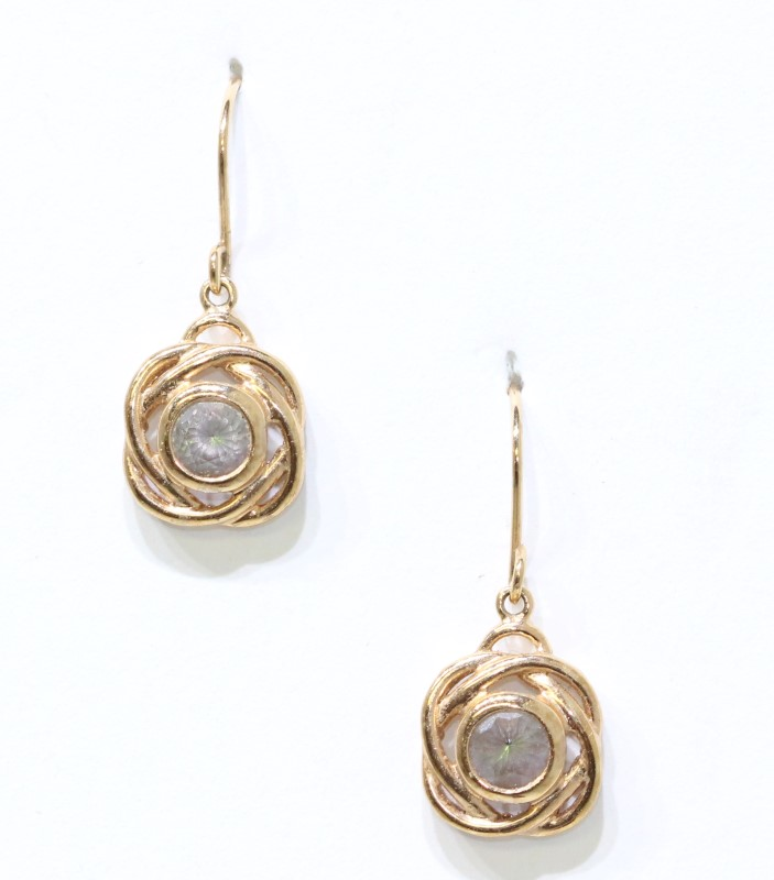 Sterling Silver Rose Gold Toned Color Changing Knot Drop Dangle Earrings