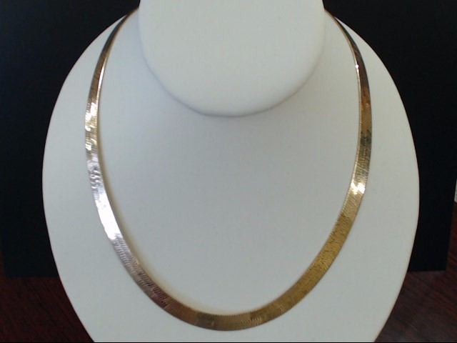 VINTAGE 18' HERRINGBONE NECKLACE CHAIN SOLID REAL 14K GOLD 7.6MM