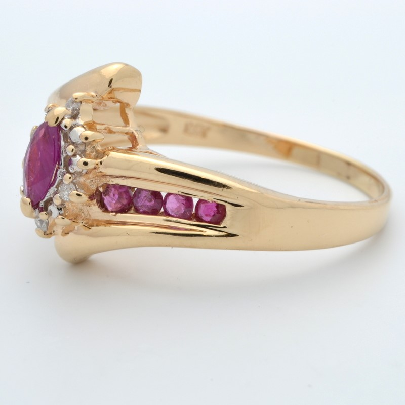 ESTATE RUBY RED DIAMOND RING SOLID 14 GOLD MARQUISE HALO SET SZ 9.75