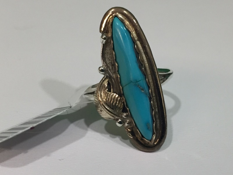 Turquoise Lady's Silver & Stone Ring 925 Silver 5g Size:7