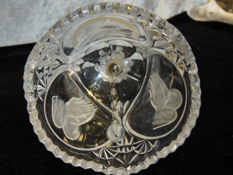 Vintage Glass Crystal Bell 24% Lead Crystal The Lord's Prayer