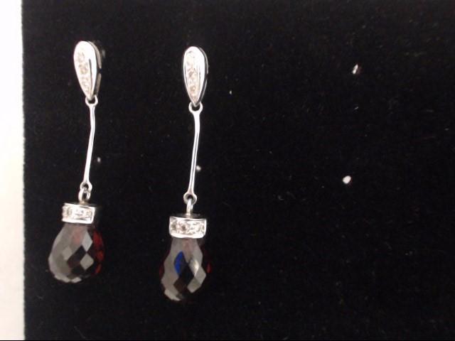 Red Stone Gold-Stone Earrings 14K White Gold 1g