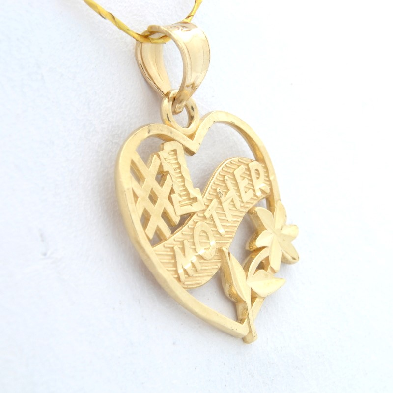 #1 MOTHER PENDANT CHARM SOLID REAL 14K GOLD MOM HEART FLOWER GIFT