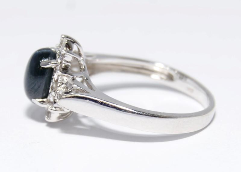 14K White Gold Dark Blue Star Sapphire Halo Ring Size: 7